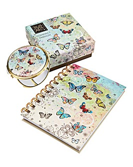 Butterfly Notebook and Mirror Gift Set