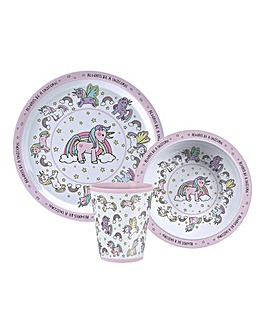 Little Stars Unicorn Dinner Set Of 3