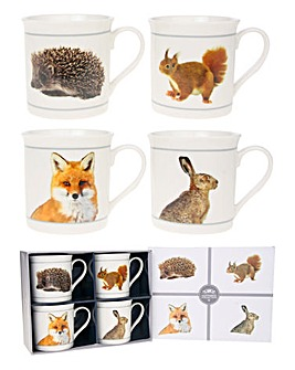 Country Animal Set Of 4 Gift Mugs