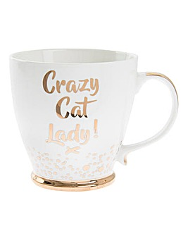 Bubbly Gold Crazy Cat Mug