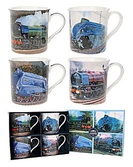 Classic Locomotive Set Of 4 Gift Mugs