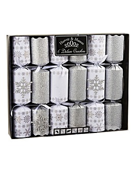 6 Deluxe Glitter Snowflake Crackers