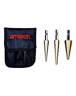 AmTech 3Pc Steel Step Drill Set
