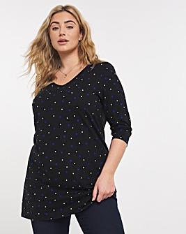 Value Cotton V Neck 3/4 Sleeve Tunic