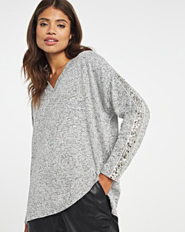 Sequin Trim Knit Look Tunic