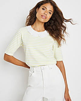 Lime Stripe Broderie Collar Top