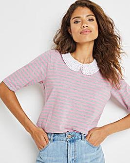 Pink Stripe Broderie Collar Top