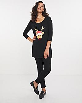 Reindeer Sequin Novelty Christmas Tunic