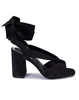Ankle Tie Block Heel Sandal Wide Fit