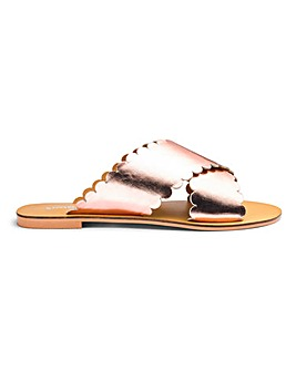Milla Scallop Leather Slider Extra Wide