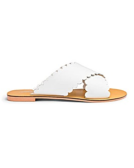 Milla Scallop Leather Slides Wide Fit