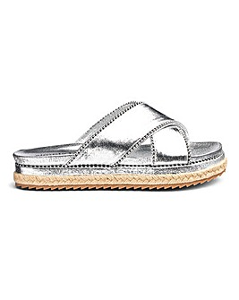 Misha Cross Strap Espadrille Slide Wide