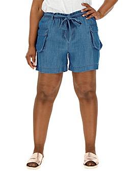 Soft Tencel Denim Belted Cargo Shorts