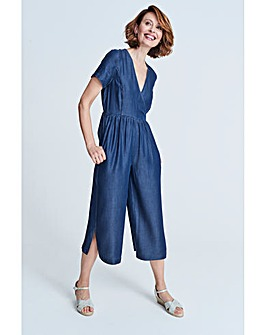 Soft Tencel Denim Wrap Jumpsuit