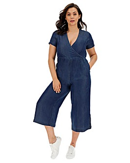 Light Indigo Soft Tencel Denim Wrap Jumpsuit