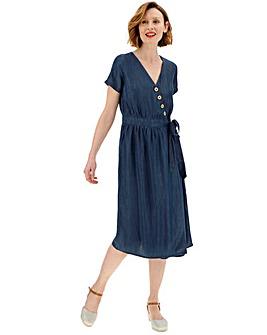 Soft Tencel Denim Button Wrap Midi Dress