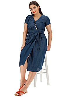 Soft Tencel Denim Button Wrap Midi Dress