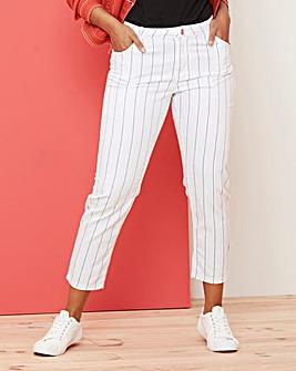 White Pinstripe Sadie Ankle Grazer Jeans