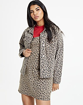 Leopard Print Raw Hem Denim Jacket