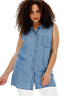 Soft Tencel Denim Sleeveless Shirt Tunic