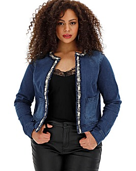 Embellished Edge to Edge Denim Jacket
