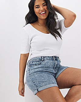 Demi Blue Acid High Waist Mom Shorts