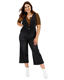 Black Deep V Culotte Denim Jumpsuit