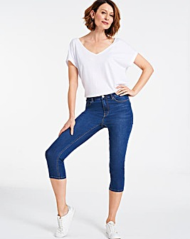 Mid Blue Eco Crop Jeans with COOLMAX®