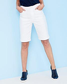 White Everyday Knee Length Denim Shorts