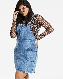 Acid Wash Zip Front Denim Pinafore Dress