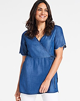 Indigo Wrap Front Soft Tencel Denim Top