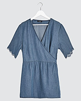 Light Indigo Wrap Front Soft Tencel Denim Top with Scalloped Sleeve
