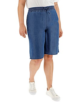 Soft Tencel Denim Knee Length Shorts