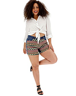 Stonewash Print Patchwork Mom Shorts