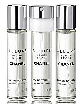 Chanel Allure Sport 20ml Eau de Toilette & 2 x 20ml Refills Only
