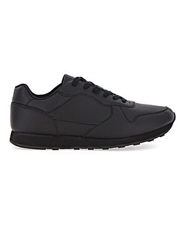 Dean Leather Look Lace Up Trainer Wide Fit