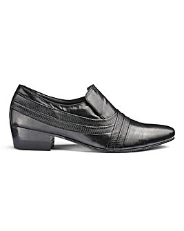 Leather Cuban Heel Slip On Shoes Wide