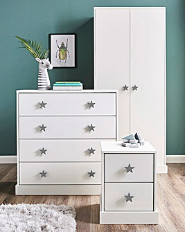 Stars 3 Piece Bedroom Package (Bedside, 4 Drawer Chest, 2 Door Wardrobe)