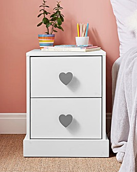 Hearts 2 Drawer Bedside Table