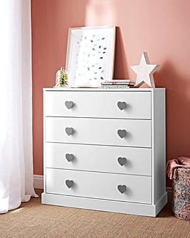 Hearts 4 Drawer Chest