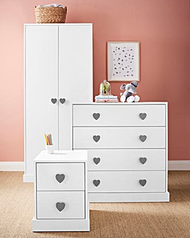 Hearts 3 Piece Bedroom Package (Bedside, 4 Drawer Chest, 2 Door Wardrobe)