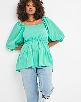 Square Neck Gingham Puff Sleeve Smock Top