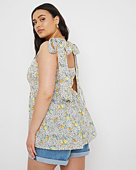 Shirred Cami Top With Peplum Tie Strap