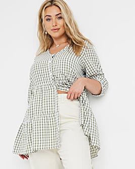 Textured Gingham Tiered Tunic Smock Top
