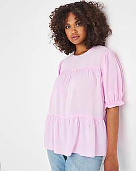 Washed Viscose Relaxed Tiered Smock Top