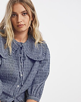 Textured Check Wide Collar Blouse