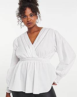 Cotton Wrap Lace Insert Peplum Top