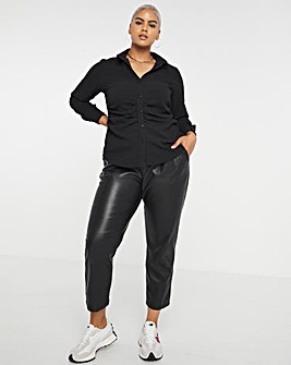 Textured Stretch Shirt with Ruched Waist