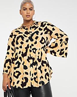 Animal Print Viscose Smock Shirt