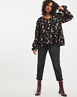 Reversible Long Sleeve Tiered Smock Top & Matching Scrunchie
